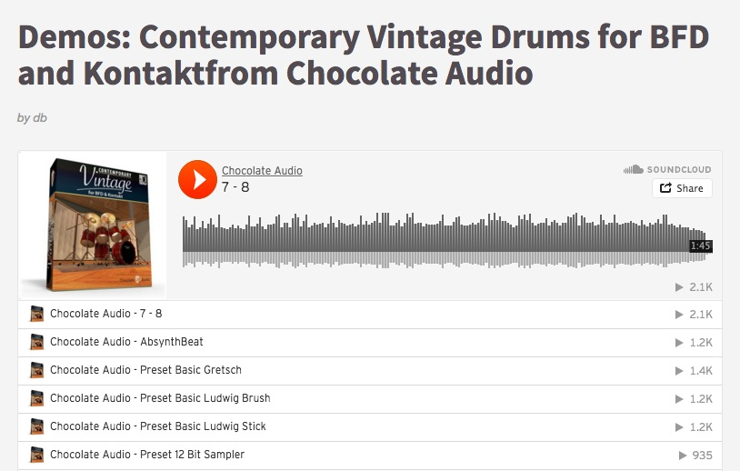 Demos: Contemporary Vintage Drums for BFD and Kontaktfrom