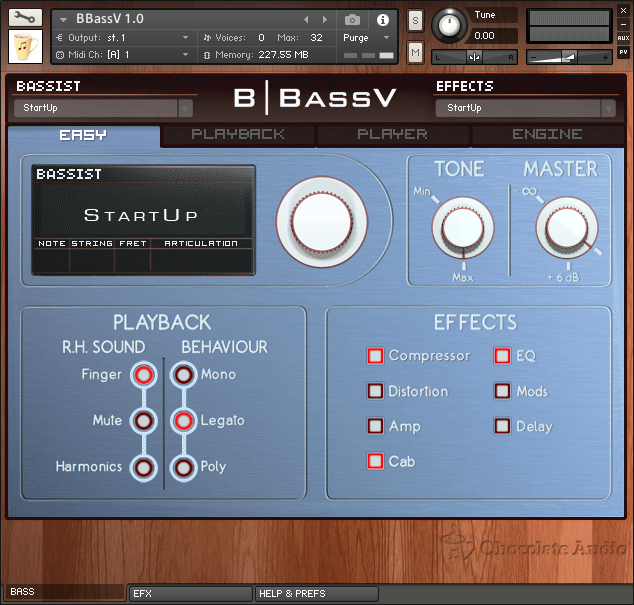 "BBassV Panel 1 ""Easy"" Interface"
