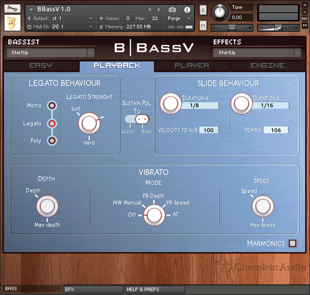 BBassV Playback Panel