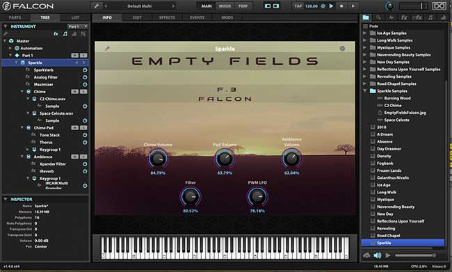 Review: Empty Fields F 3 for UVI's Falcon from Triple Spiral Audio